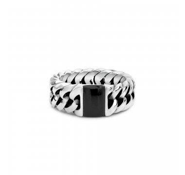 Chain Stone Ring Onyx