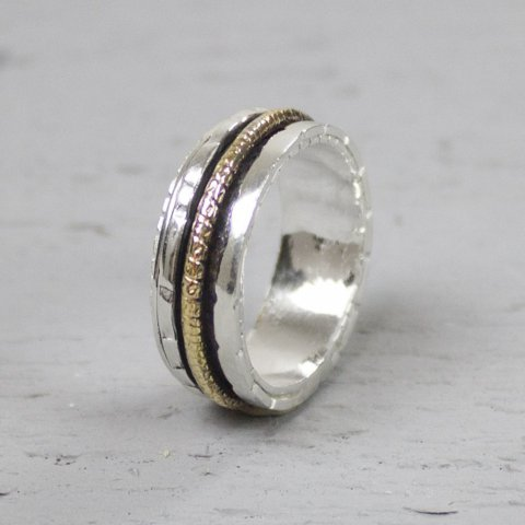 Ring zilver + Gold Filled Energiek