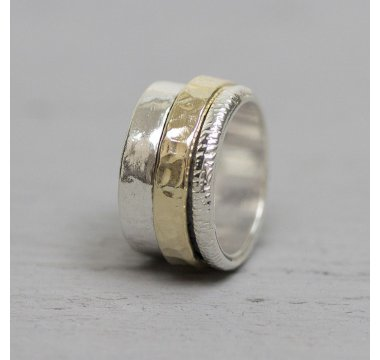 Ring zilver met goldfilled cool