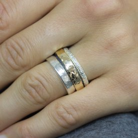 Ring zilver met goldfilled cool