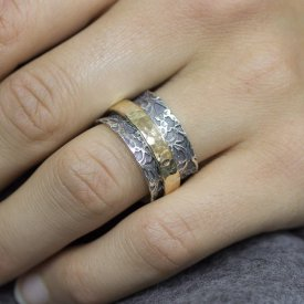 Ring zilver met goldfilled modieus kant