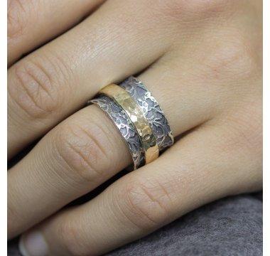 Ring zilver met goldfilled modieus kant