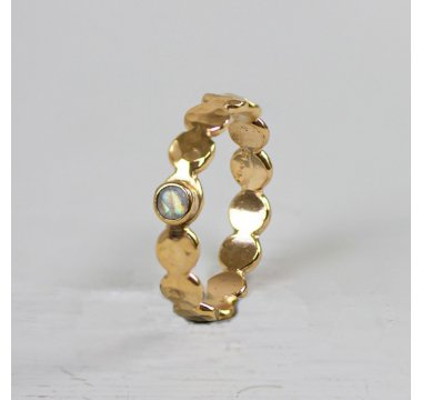 Ring Goldfilled bubbles + maansteen