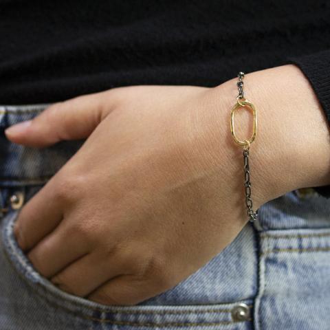 Armband zilver oxy + Goldfilled